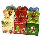Lot de 12 boîtes pour cadeaux, fruits, bonbons avec illustrations mignonnes pour fête de Noël, mariage et fêtes