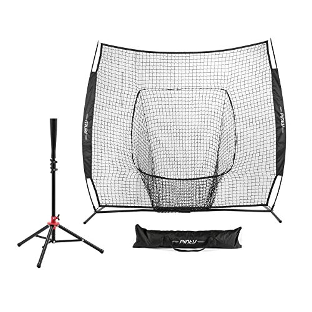Pinty Baseball and Softball Practice Net 7'×7' Portable Hitting Batting Training Net with Carry Bag & Metal Frame + Baseball Softball Batting Tee (Baseball Net with Batting Tee)