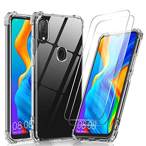 LeYi Cover Samsung Galaxy A20e con [2 Pack] Vetro Temperato, Custodia Armor Trasparente Silicone Morbida Puro Crystal Slim Sottile Flessibile TPU Gel Bumper Antiurto Case per Telefono A20e,Clear