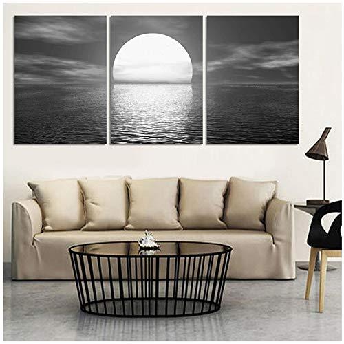 3 Paneles de Lona Luna Llena En El Mar Nightscape Modernos Cuadros de Pared Negro Blanco Vista al Mar Pintura Decorativa Decoración 50 CM x 70 CM