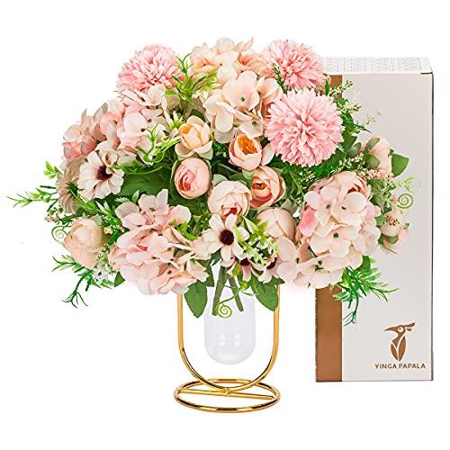 Flores artificiales de interior para decoración, Hortensias rojas mesa decorativa flores artificiales con florero, arreglos de flores de imitación regalos para mujeres mamá 2 paquetes