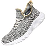 WsDebutting Men's Fashion Sneakers Lace-up Lightweight Breathable Mesh Soft Sole Walking Running Shoes for Men Gold Size 12