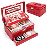 wang tong shop Jewelry Box Storage Organizer Case Ring Earring Necklace Mirror PU Leather Red