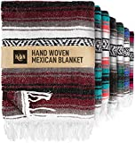Handcrafted Large Mexican Blankets, Artisanal Handwoven Serape Blanket, Authentic Falsa Blanket, Beach Blanket, Camping Blanket, Picnic Blanket, Outdoor Blanket, Boho Throw Blankets, Cherry