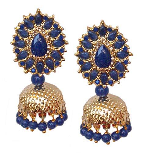 Pahal tradicional Jadau Blue Kundan Pearl Gold Jhumka Pendientes indios Bollywood joyería nupcial para mujeres