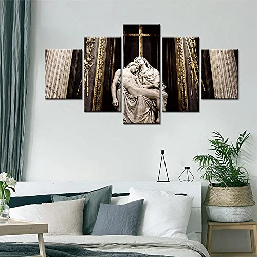 5 Panels Canvas Printing Decor Wall Art 5 Piece Canvas Wall Art Prints Pictures 5 Pieces Religious God Jesus for Modern Home Decor The Room Stretched and Framed Ready to Hang