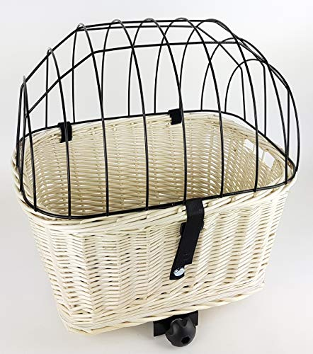 Tigana - Hundefahrradkorb für Gepäckträger aus Weide mit Gitter 50 x 38 cm Eckig Weiß (W-S) (mit Kissen)