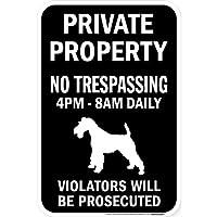 PRIVATE PROPERTY ブラックマグネットサイン:ウェルシュテリア シルエット 英語 私有地 無断立入禁止