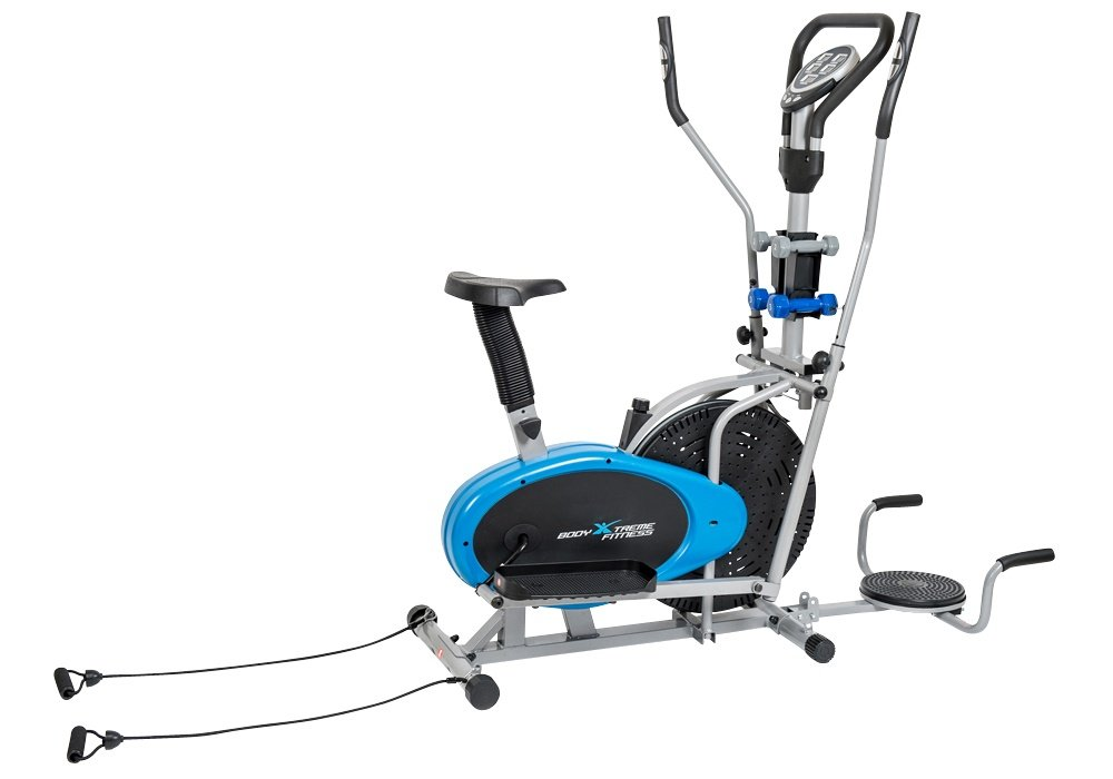 Body Xtreme Fitness 6-in-1 Elliptical Trainer Exercise Bike, Home Gym Equipment, Push Up Bars, Ab-Twister, Hand Weights, Resistance Bands, Pulse Sensors, Bonus Cooling Towel