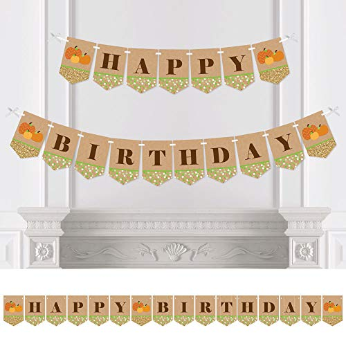 Big Dot of Happiness Pumpkin Patch - Fall Birthday Party Bunting Banner - Pumpkin Party Decorations - Happy Birthday