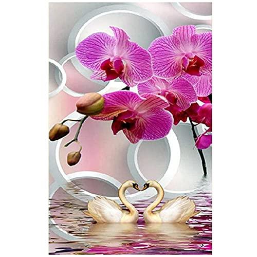 pintura diamante 5D DIY por número Kit,grande Orquídea rosa cisne 70x200cm diamante arte completo taladro cristal bordado punto de cruz cuadros arte arte arte decoración de la pared del hogar Regalo