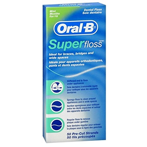 Oral-B Super Floss Mint Dental Floss Pre-Cut Strands 50 ea ( Pack of 2)