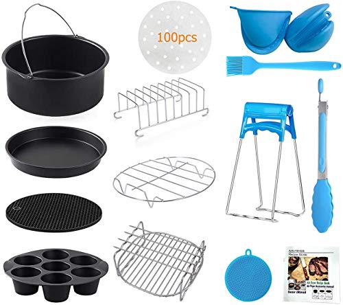 An image of the Yingrace 8 inch Air Fryer Accessories 14 pcs for Tower, Phillips, Gowise Airfryer Fit All Standard Deep Fryer Accessories XXL 4.8-5.9 QT for Home Use (8 Inch)