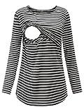 Love2Mi Damen Schwangere Stillen Shirt Nursing Langarm Rundhals Top Schwangerschaft Umstandstop,Graue Weiß Streifen,L