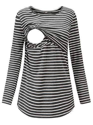 Love2Mi Damen Schwangere Stillen Shirt Nursing Langarm Rundhals Top Schwangerschaft Umstandstop,Graue Weiß Streifen,M
