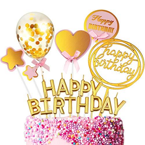 19 Stücke Happy Birthday Kuchen Topper Set Glitzernder Stern und Herzform Topper Konfetti Ballon Acryl Cupcake Topper Metallischer Buchstabe Kuchen Kerze für Geburtstagstorte Dekoration