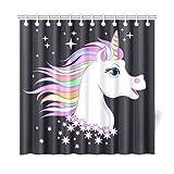 N\A Decoración para el hogar Cortinas de baño para niños Dulces Dibujos Animados Unicornio Niño y bebé Tela de poliéster Cortinas Opacas Impermeables para baño para baño 72 * 72 Pulgadas (183 X