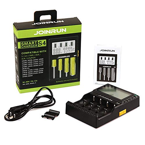 Joinrun 4-Slots LCD Display Universal Battery Charger for 3.7V Li-ion 10440 14500 14650 16340 17670 18500 18650 22650 25500 26650 Batteries