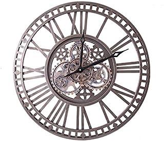 WOERD Horloge Murale à Engrenages Mobiles de 24 Pouces,Horloge Murale sans coutil Grande 3D rétro décoratif Vintage Steamp...