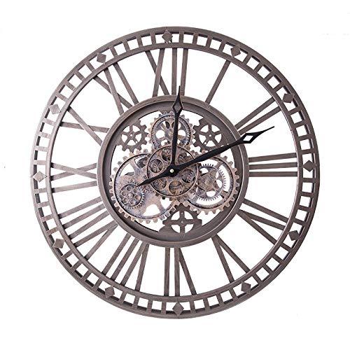 DJR 24 Zoll Vintage Industriegetriebe Wanduhr 3D handgefertigte ohne tickgerausche Wanduhr mit beweglichen Zahnrädern Retro Uhren kreative Kunst Dekoration für Wohnzimmer usw