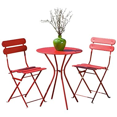 RST Brands Sol 3-Piece Bistro Set, Red