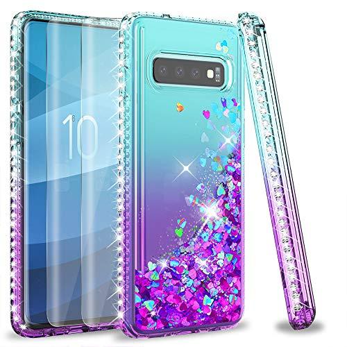 LeYi Custodia Galaxy S10 Glitter Case con Full Cover Curved 3D Pet Pellicola [2 Pack],Brillantini Diamond Silicone Liquido Bumper per Custodie Samsung Galaxy S10 Donna ZX Turquoise Purple Gradient