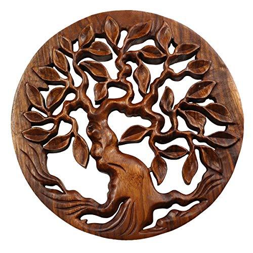Oriental Galerie Wandbild Wanddeko Mandala Relief Lebensbaum Baum Symbol Mythologie Deko Soar Holz Neues Modell Nr.3 ca. 30 cm