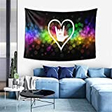 ASL (American Sign Language) I Love You Tapestry Hippie Art Tapestry For Bedroom Living Room Dorm Party Decor 60x40Inch