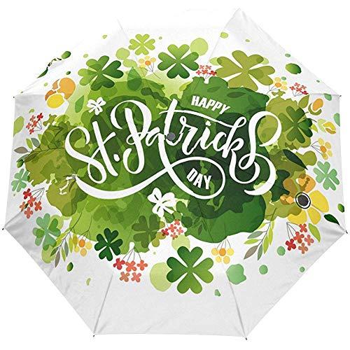 Hola Primavera Día de San Patricio Verde Floral Trébol de Cuatro Hojas Automático Abrir Cerrar Sol Lluvia Paraguas
