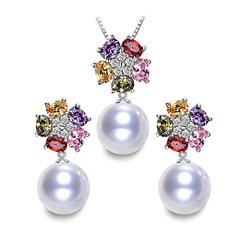 LSOOYH 18K Gold Plated Austrian Crystal Fashion Shell Pearl Jewelry Sets Flower Necklace Earrings Set (White)