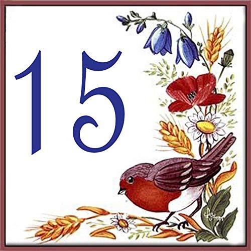Placa con número de casa y nombre de la calle - loza – 10,8x10,8x0,5cm - ¡Indique el número deseado!