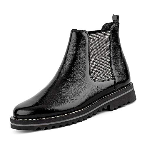 Paul Green 9643 005 Damen Sportiver Chelsea Boots Lackleder Lederausstattung, Groesse 41 1/2, schwarz