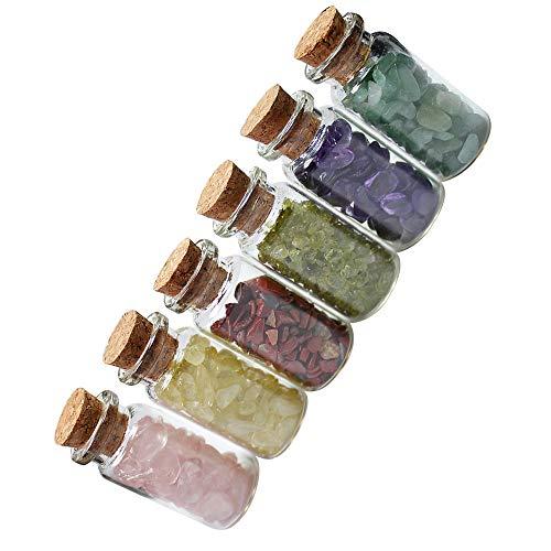 VVU Piedra de Cristal de Cuarzo Natural, 17 Tipos, Grava de Cristal, Botella de Deseos, Piedras de Cuarzo Natural, viruta Mineral