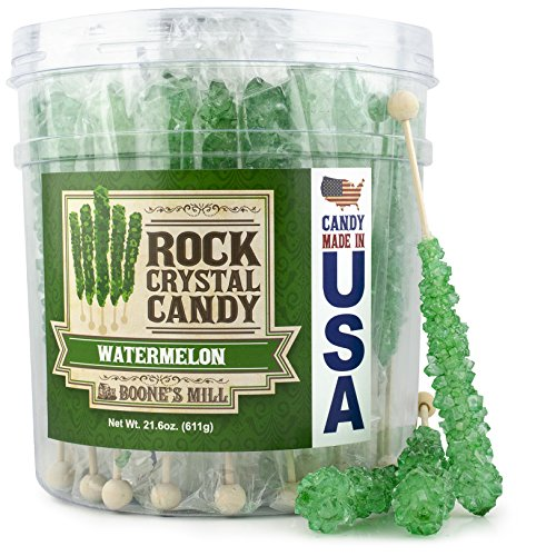 Boone's Mill | Rock Crystal Candy Sticks | Green Watermelon | 36 Sticks