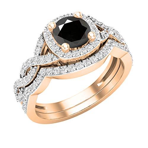 Dazzlingrock Collection - Juego de anillos de boda de 5,8 mm con piedras preciosas redondas y diamantes blancos, estilo trenzado, oro rosa de 10 quilates