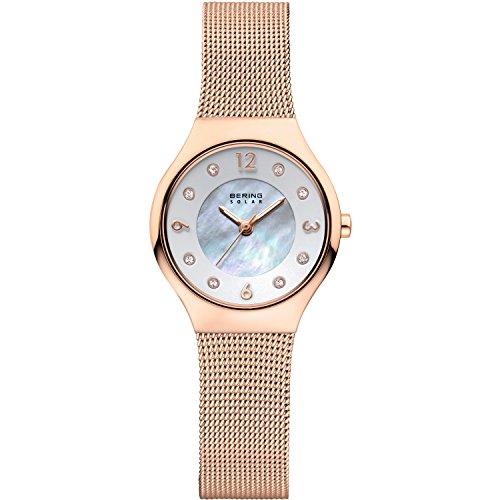BERING Damen-Armbanduhr Analog Solar Edelstahl 14427-366