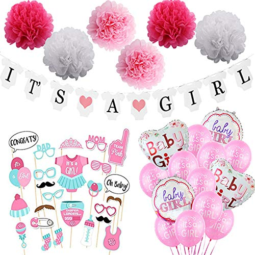 Pink Baby Shower Decorations for Girl Kit - It's a Girl Pre-Strung Banners Garland Sash Balloons Lanterns Games