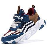Scarpe Sportive Bambini e Ragazzi Scarpe da Corsa Ginnastica Respirabile Mesh Running Sneakers Fitness Casual(A Blu Marrone,27 EU)