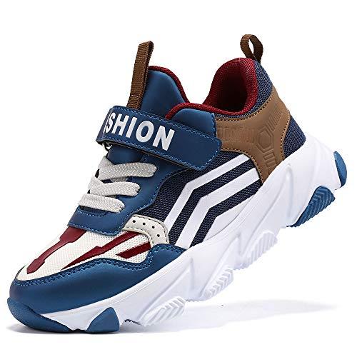 ASHION Kinder Turnschuhe Jungen Sneaker Babys Hausschuhe Mädchen Sportschuhe Kinderschuhe Laufschuhe Unisex-Kinder (H Blau Braun,25 EU)