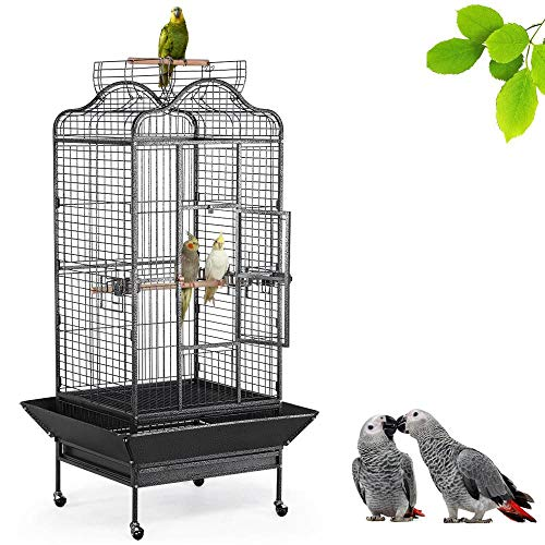 Yaheetech Wrought Iron Rolling Extra Large Open Play Top Bird Cage for Mini Macaw Goffin Cockatoo...