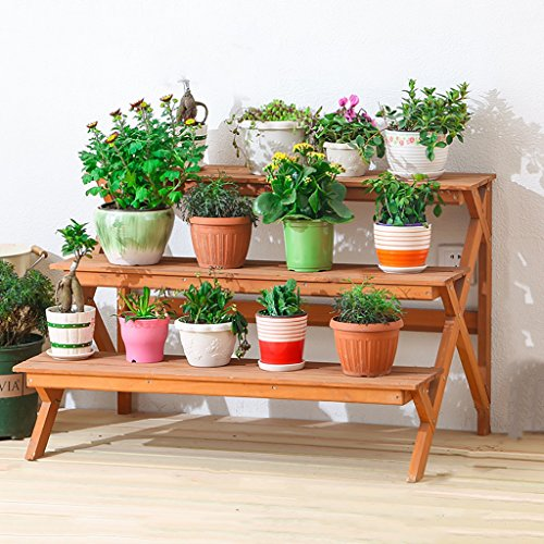 LJYHJ Almacenamiento de macetas Soporte de Flores de Madera Maciza Ensamblaje Estante del pote Sala de Estar balcón Interior al Aire Libre Planta Patio Bonsai Marco Decorativo Estantería de jardín