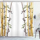 ABAKUHAUS Bambus Duschvorhang, Hand Drawn Bambusse Blatt, Trendiger Druck Stoff mit 12 Ringen Farbfest Bakterie & Wasser Abweichent, 175 x 200 cm, Creme Braun weiß