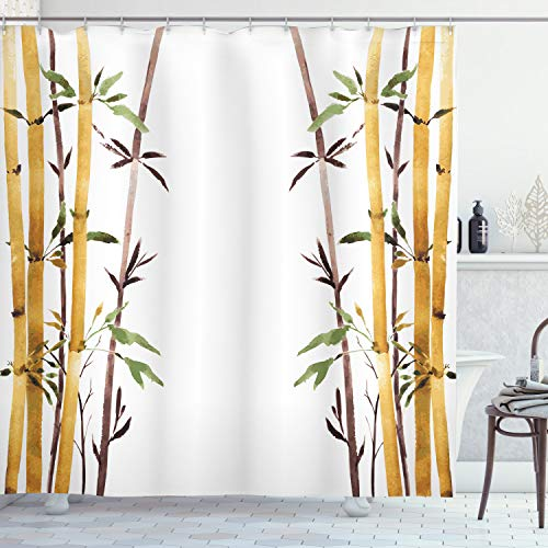 """Ambesonne Bamboo Shower Curtain, Bamboo Grove Calm Your Mind Slow Down Relax Hand Drawn Style Artwork, Cloth Fabric Bathroom Decor Set with Hooks, 70"""" Long, Cream Brown"""