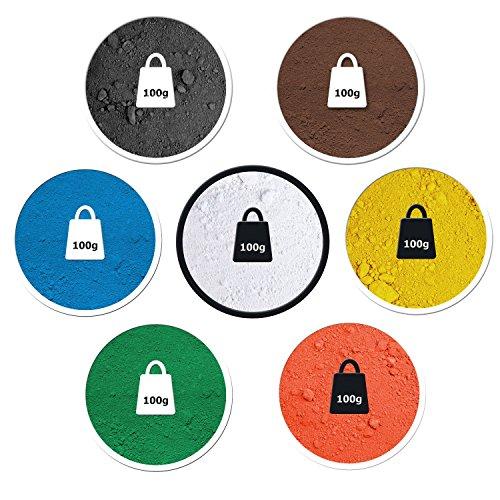 @tec 7-teiliges Proben Bastelset je 100g (27 Euro/kg) Pigmentpulver Eisenoxid Oxidfarbe Farbpigmente Trockenfarbe für Beton Gips Epoxidharz kreatives Basteln schwarz rot gelb weiß braun grün blau