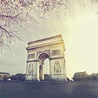AOFOTO 6×6フィート パリ ストリートビュー 背景 ヨーロッパ風 ビンテージ アーチ型 トリンフ ビニール ロマンス フランス アーバンシティ 風景 背景 写真 スタジオ 小道具 ビニール 壁紙