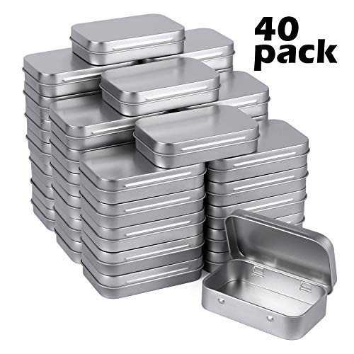 Tamicy Metal Rectangular Empty Hinged Tins - Pack of 40 Silver Mini Portable Box Containers Small Storage Kit & Home Organizer small tins with lids craft containers 3-1/2''X2-1/2''X4/5''