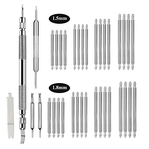 EFIXTK Spring Bar Tool,Watch Band Tool Set, Watch Wrist Bands Strap Removal Repair Fix Kit with Extra 3 Tips Pins & 32PCS Heavy Duty 316 Stainless Steel Pins