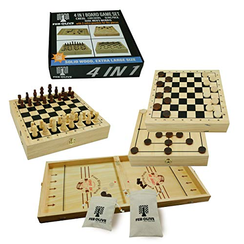 4 in 1 Board Game Set | Extra Large Wooden Chess Board Sets with Sling Puck Game Checkers Board Game for Adults and Nine Mens Morris | Wooden Chess Set String Puck Game amp Checkers Game for Kids
