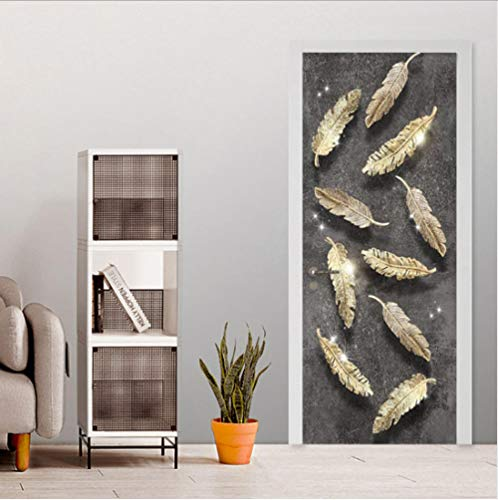 WXSSLN Puerta Pegatinas Mural pluma 3D Door Sticker Wallpaper Desmontable Sticker Poster DIY Art Decoration