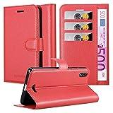 Cadorabo Hülle für WIKO Lenny 4 Plus - Hülle in Karmin ROT – Handyhülle mit Kartenfach & Standfunktion - Hülle Cover Schutzhülle Etui Tasche Book Klapp Style